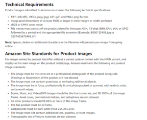 A list of Amazon's product image requirements.