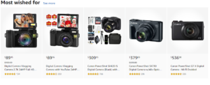 A selection of digital cameras listed on Amazon.