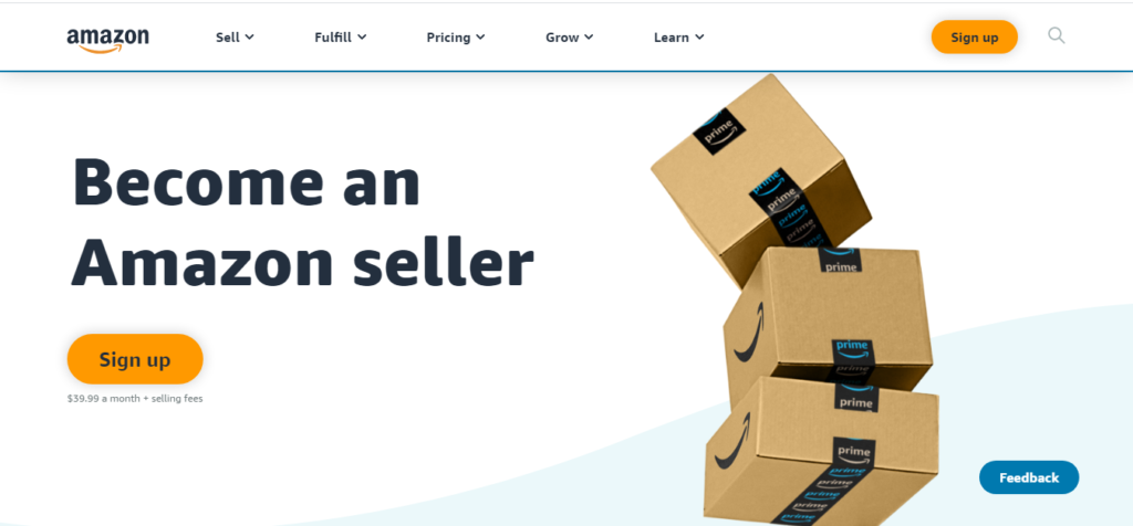 A screenshot from Amazon's website that contains information on how to become an Amazon seller.