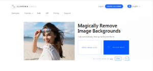 The home page for photography company Clipping Magic.