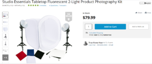 A product photography kit listing on Amazon.