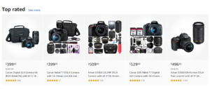 A selection of quality digital cameras listed on Amazon.
