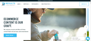 The home page for photography company Results Imagery.