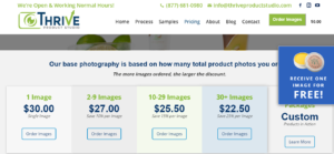 A screenshot of the pricing page for Thrive Product Studio.