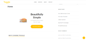 The home page for photography company Toggle Product Media.