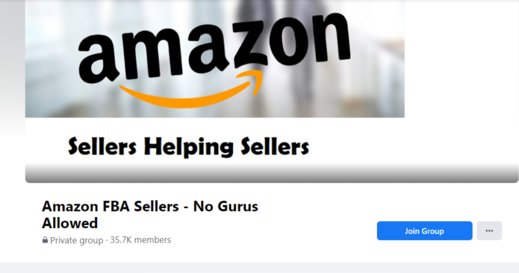 A screenshot of the Amazon FBA Sellers - No Gurus Allowed Facebook forum.