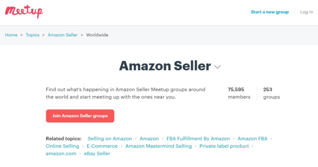 A screenshot of Amazon seller groups listed on Meetup.com.