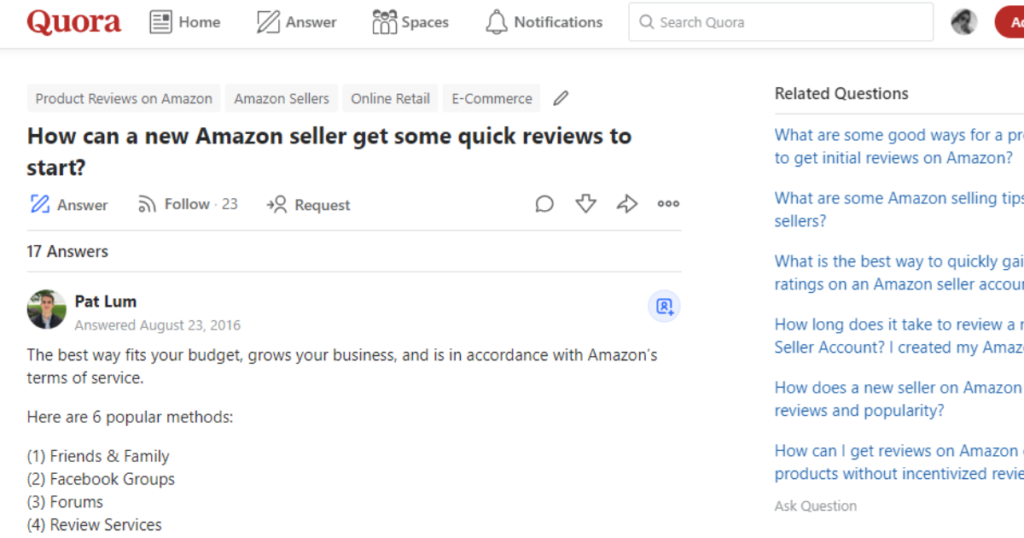 A screenshot of an Amazon seller question posted on Quora.