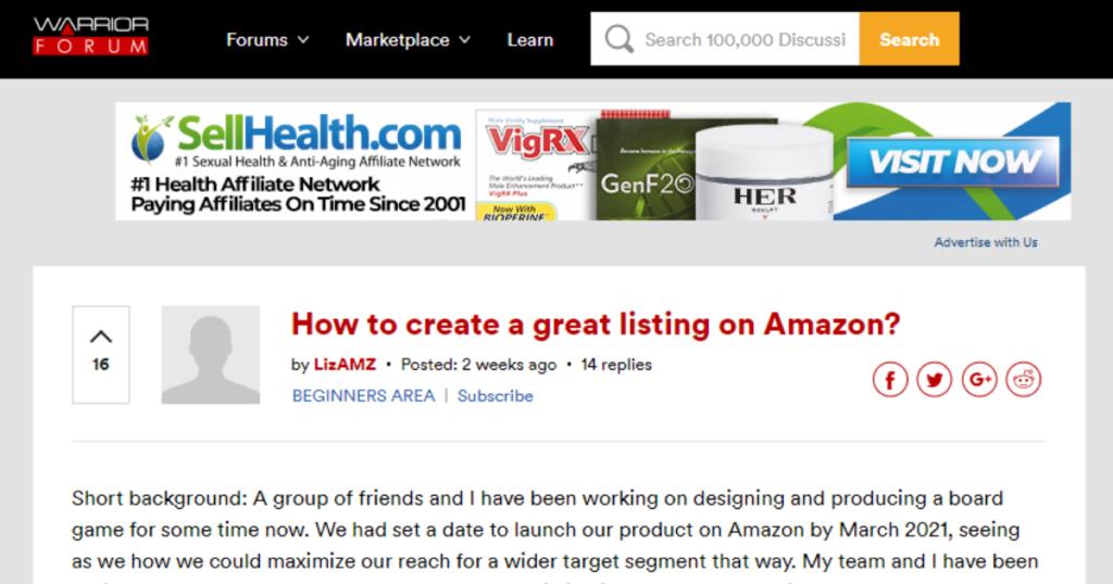 A screenshot taken from Warrior Forum's website.
