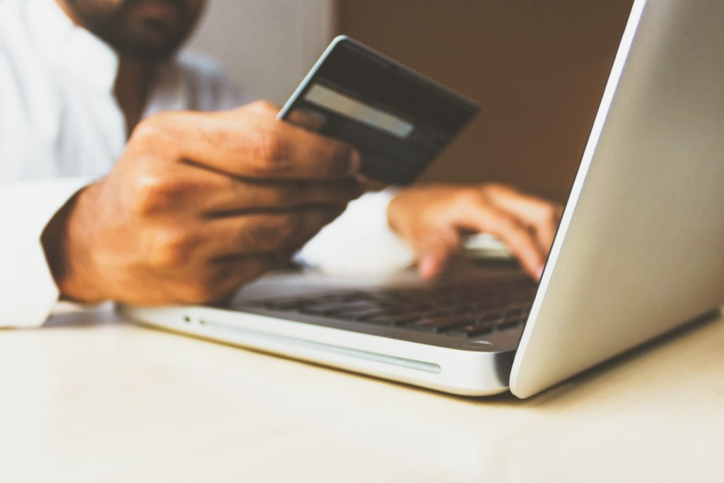 An Amazon shopper submits his credit card info to make a purchase.