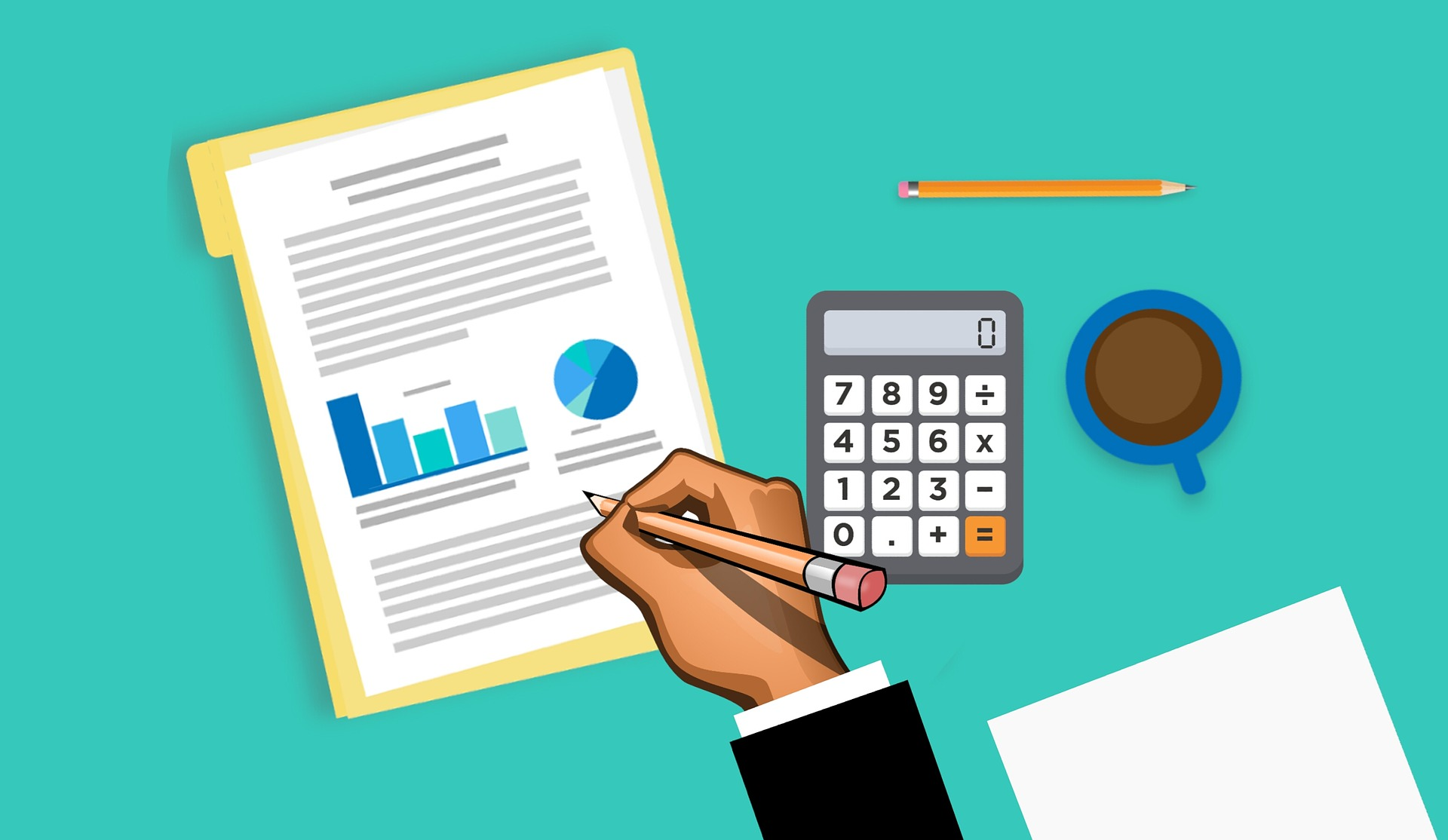 An animated image that depicts a recap of various business finance concepts.