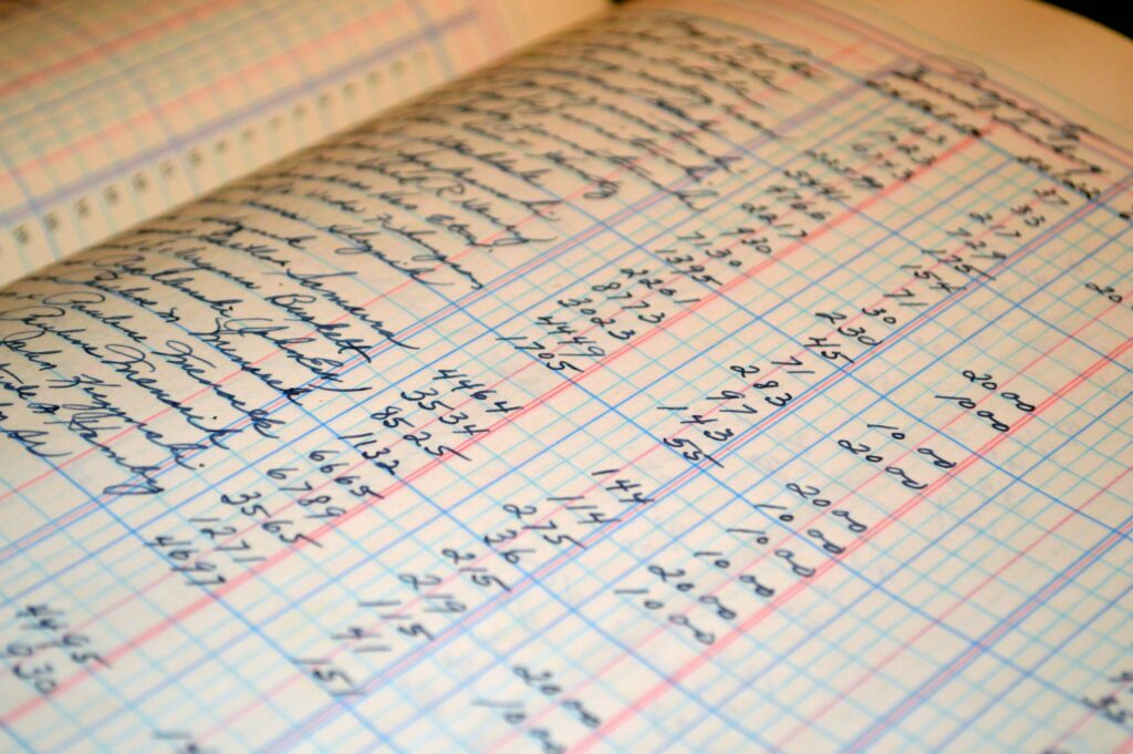 Bookkeeping records written by hand.