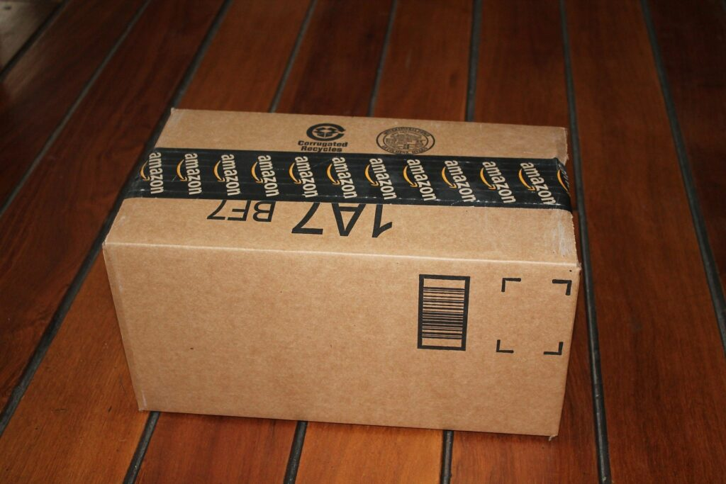 An Amazon delivery box.