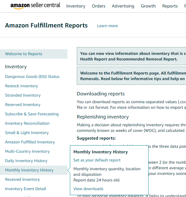 A screenshot that demonstrates how to download your Historical Inventory Report from Amazon.