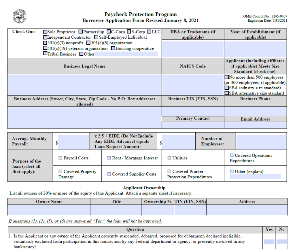The PPP loan application form.