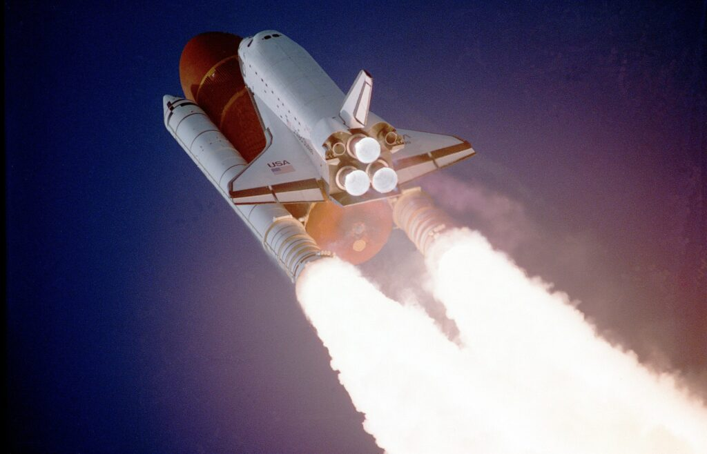A rocket ship taking off, denoting a successful Amazon product launch.