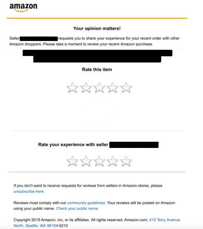 A product review request issued through Amazon.