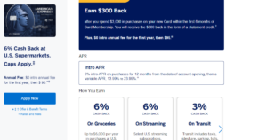 A screenshot of the American Express Blue Cash Preferred Card page.