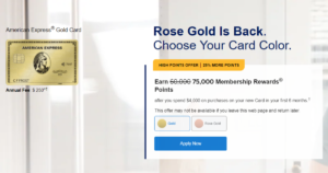 A screenshot of the American Express Gold Card page.