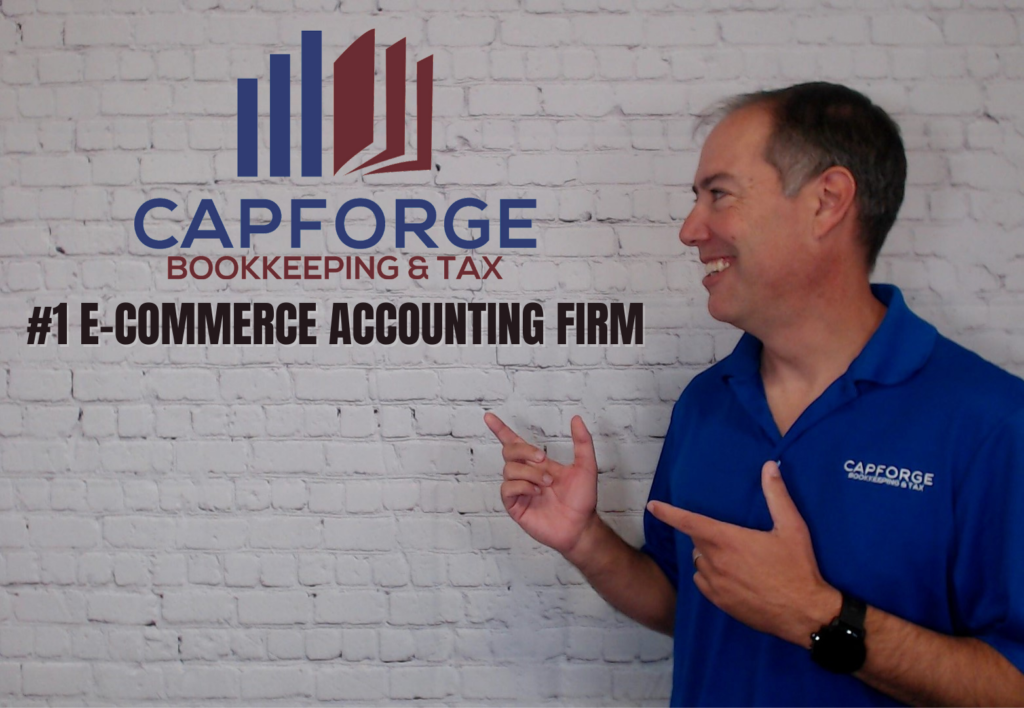 A photo of CapForge CEO Matt Remuzzi standing next to the company logo. CapForge is the #1 e-commerce accounting firm.