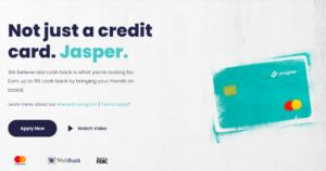 A screenshot of the Jasper Credit Card page.
