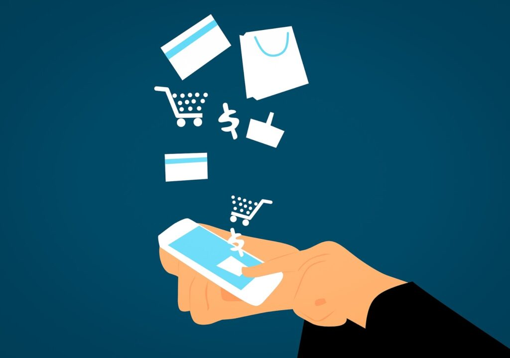 An animated image of a person shopping on Amazon using their mobile device.