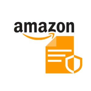Amazon's logo with an insurance symbol underneath it.